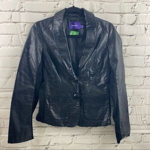 Mexico vegan leather jacket with stretch panels